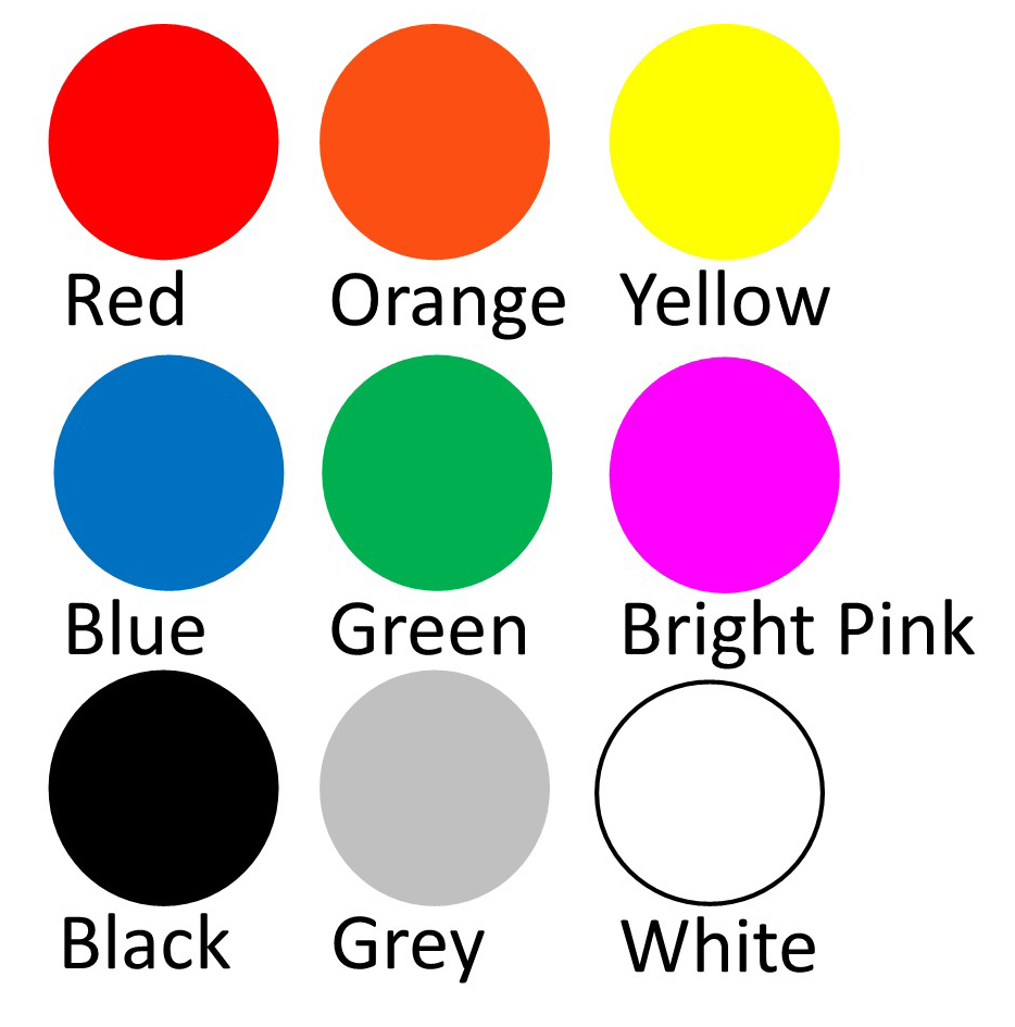 Colour chart for Showjumps