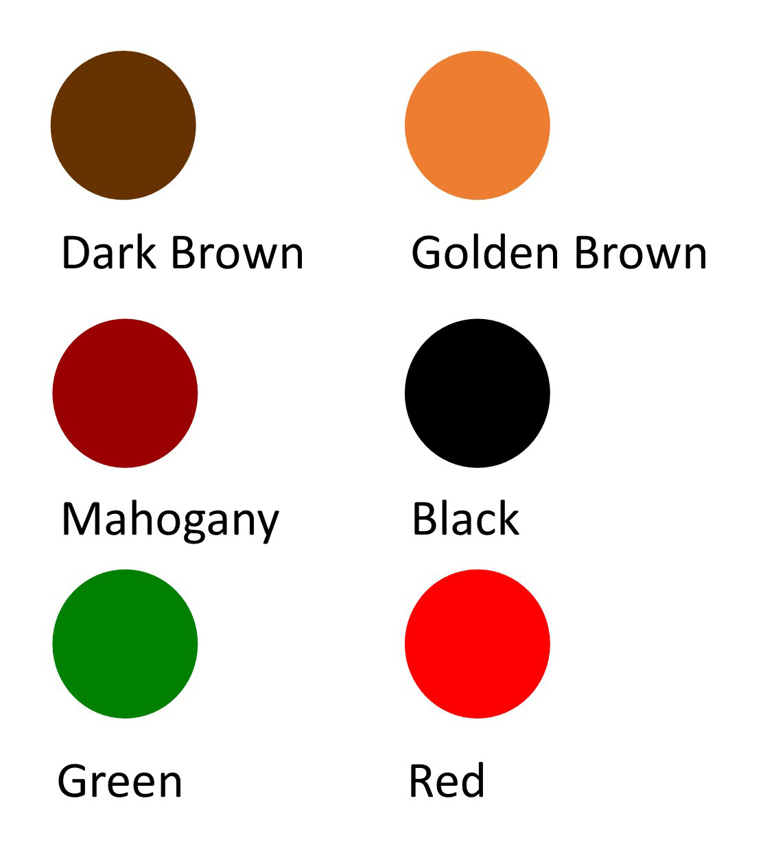 Working hunter stain colour chart